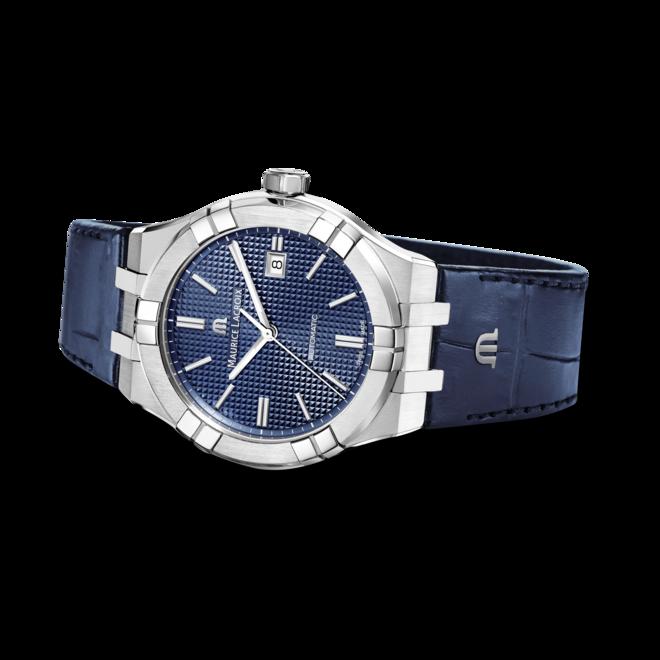 Herrenuhr Maurice Lacroix Aikon Automatic mit blauem Zifferblatt und Armband aus Kalbsleder mit Krokodilprägung bei Brogle