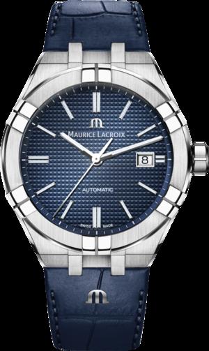 Herrenuhr Maurice Lacroix Aikon Automatic mit blauem Zifferblatt und Armband aus Kalbsleder mit Krokodilprägung
