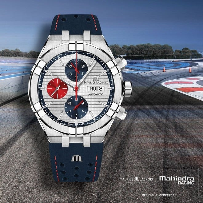 Herrenuhr Maurice Lacroix Aikon Automatic Chrono Special Edition Mahindra Racing mit weißem Zifferblatt und Kalbsleder-Armband bei Brogle