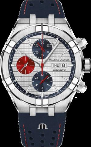 Herrenuhr Maurice Lacroix Aikon Automatic Chrono Special Edition Mahindra Racing mit weißem Zifferblatt und Kalbsleder-Armband