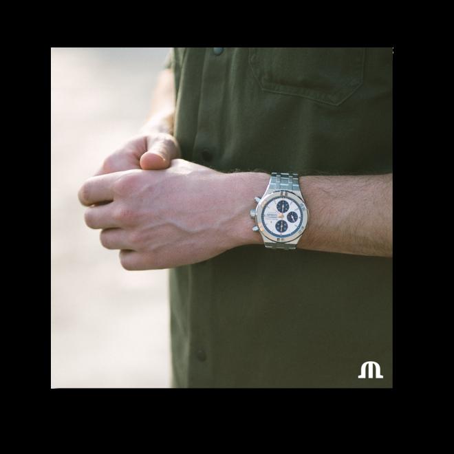 Herrenuhr Maurice Lacroix Aikon Automatic Chronograph 44mm mit silberfarbenem Zifferblatt und Edelstahlarmband bei Brogle