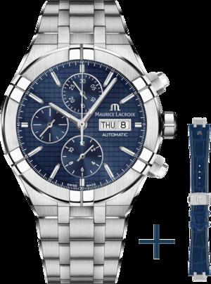 Herrenuhr Maurice Lacroix Aikon Automatic Chronograph 44mm mit blauem Zifferblatt und Edelstahlarmband