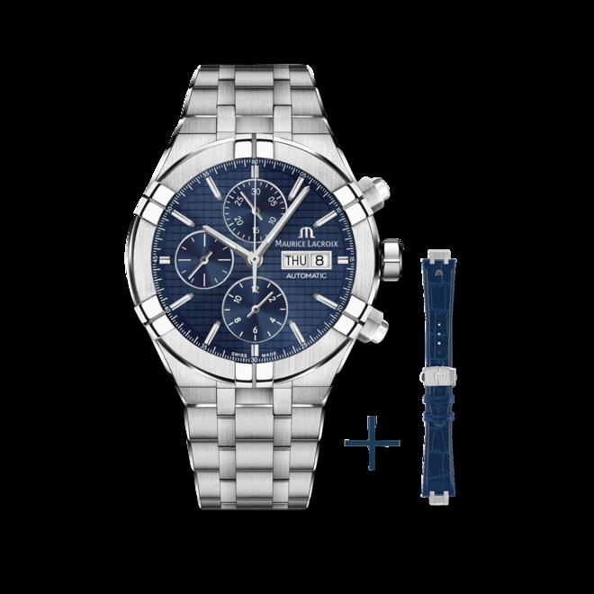 Herrenuhr Maurice Lacroix Aikon Automatic Chronograph 44mm mit blauem Zifferblatt und Edelstahlarmband bei Brogle