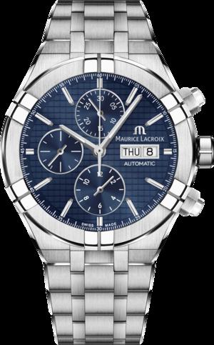 Herrenuhr Maurice Lacroix Aikon Automatic Chronograph mit blauem Zifferblatt und Edelstahlarmband