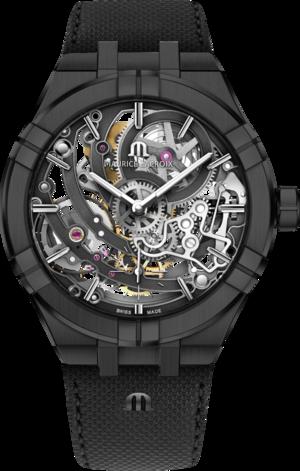 Herrenuhr Maurice Lacroix Aikon Automatic Skeleton mit mehrfarbigem Zifferblatt und Kalbsleder-Armband