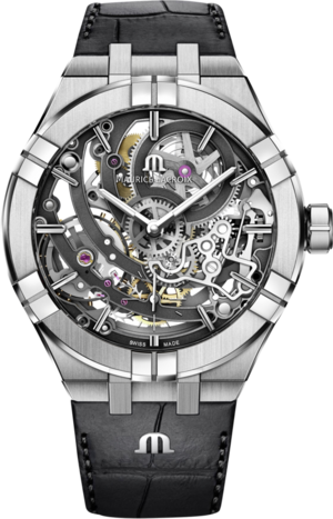 Herrenuhr Maurice Lacroix Aikon Automatic Skeleton mit schwarzem Zifferblatt und Alligatorenleder-Armband