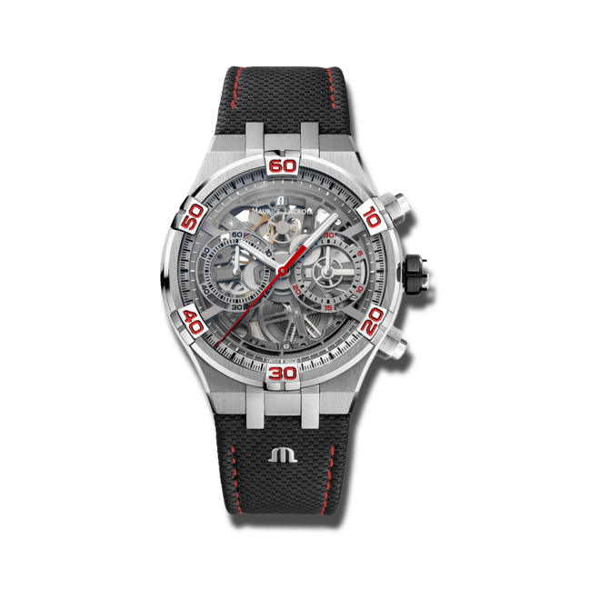 Herrenuhr Maurice Lacroix Aikon Automatik Skeletierter Chronograph Special Edition Mahindra Racing mit transparentem Zifferblatt und Kalbsleder-Armband bei Brogle