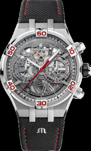 Herrenuhr Maurice Lacroix Aikon Automatik Skeletierter Chronograph Special Edition Mahindra Racing mit transparentem Zifferblatt und Kalbsleder-Armband