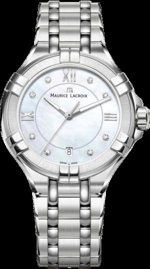 Damenuhr Maurice Lacroix Aikon Ladies mit Diamanten, perlmuttfarbenem Zifferblatt und Edelstahlarmband