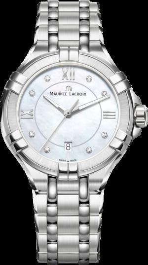 Damenuhr Maurice Lacroix Aikon Ladies Small mit Diamanten, perlmuttfarbenem Zifferblatt und Edelstahlarmband