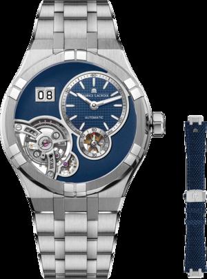 Herrenuhr Maurice Lacroix Aikon Master Grand Date 45mm mit blauem Zifferblatt und Edelstahlarmband