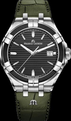 Herrenuhr Maurice Lacroix Aikon Quartz 42mm mit schwarzem Zifferblatt und Armband aus Kalbsleder mit Krokodilprägung