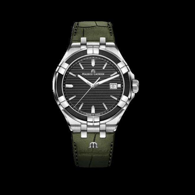 Herrenuhr Maurice Lacroix Aikon Quartz 42mm mit schwarzem Zifferblatt und Armband aus Kalbsleder mit Krokodilprägung bei Brogle