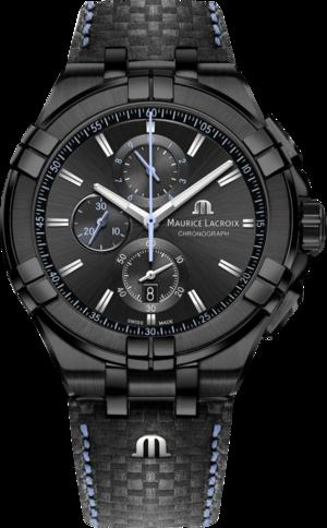Herrenuhr Maurice Lacroix Aikon Quartz Chronograph mit schwarzem Zifferblatt und Kalbsleder-Armband