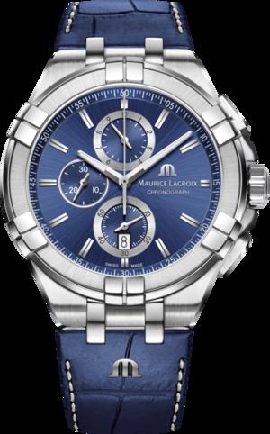 Herrenuhr Maurice Lacroix Aikon Quartz Chronograph mit blauem Zifferblatt und Armband aus Kalbsleder mit Krokodilprägung