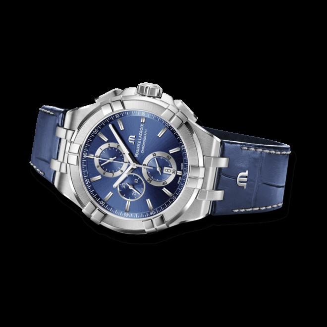 Herrenuhr Maurice Lacroix Aikon Quartz Chronograph mit blauem Zifferblatt und Armband aus Kalbsleder mit Krokodilprägung bei Brogle