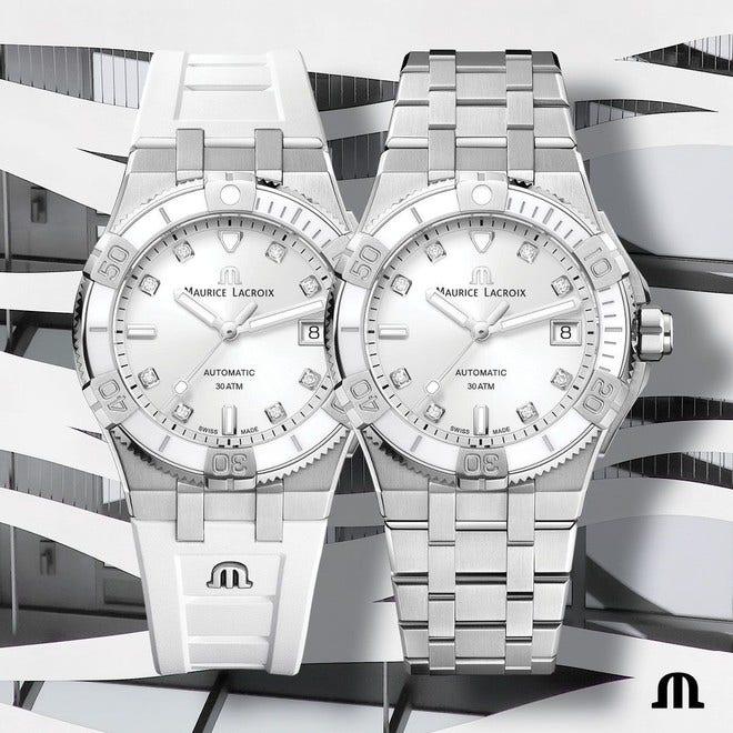 Damenuhr Maurice Lacroix Aikon Venturer Automatic 38mm mit Diamanten, weißem Zifferblatt und Edelstahlarmband bei Brogle