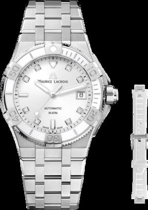 Damenuhr Maurice Lacroix Aikon Venturer Automatic 38mm mit Diamanten, weißem Zifferblatt und Edelstahlarmband