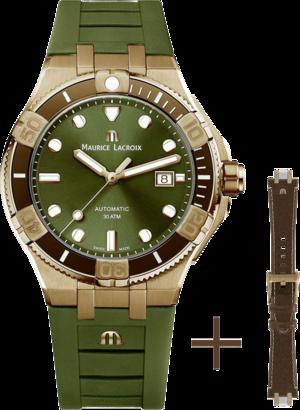 Herrenuhr Maurice Lacroix Aikon Venturer Automatic 43mm, Limited Edition mit grünem Zifferblatt und Kautschukarmband