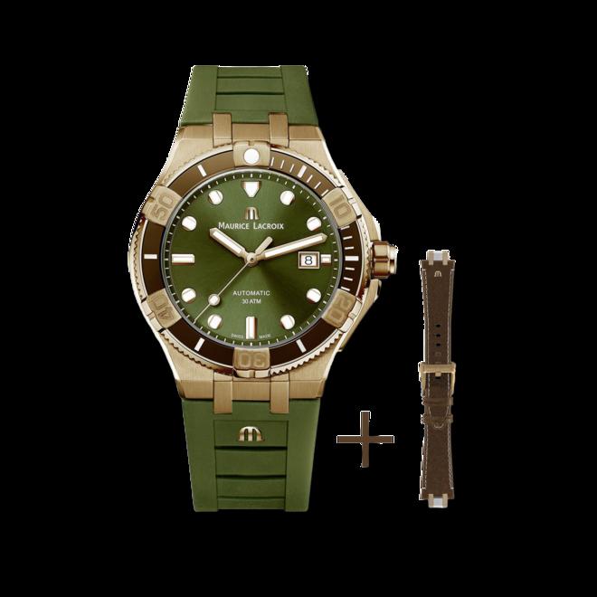 Herrenuhr Maurice Lacroix Aikon Venturer Automatic 43mm, Limited Edition mit grünem Zifferblatt und Kautschukarmband bei Brogle