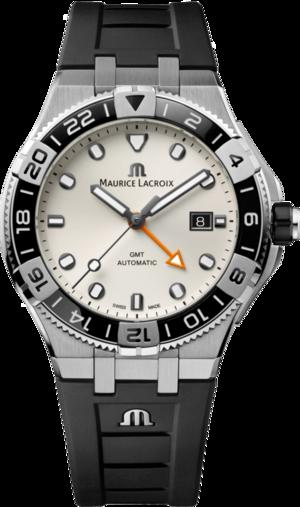 Herrenuhr Maurice Lacroix Aikon Venturer GMT 43mm mit weißem Zifferblatt und Kautschukarmband