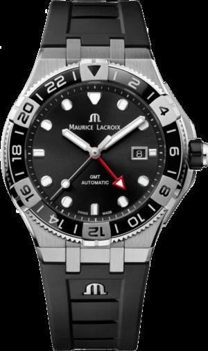 Herrenuhr Maurice Lacroix Aikon Venturer GMT 43mm mit schwarzem Zifferblatt und Kautschukarmband