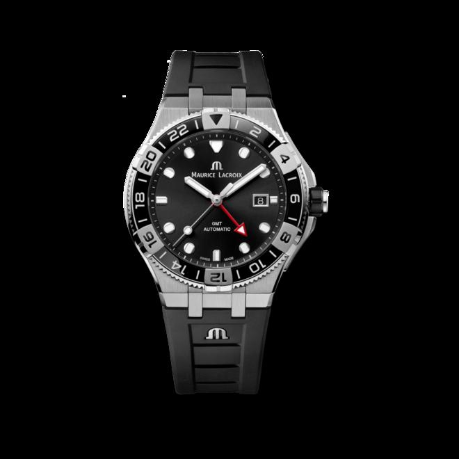 Herrenuhr Maurice Lacroix Aikon Venturer GMT 43mm mit schwarzem Zifferblatt und Kautschukarmband bei Brogle