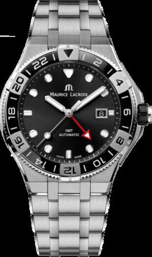 Herrenuhr Maurice Lacroix Aikon Venturer GMT 43mm mit schwarzem Zifferblatt und Edelstahlarmband