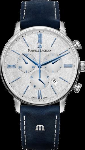 Herrenuhr Maurice Lacroix Eliros Chronograph 40mm mit silberfarbenem Zifferblatt und Kalbsleder-Armband