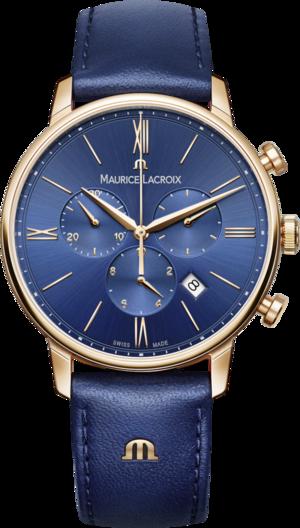 Herrenuhr Maurice Lacroix Eliros Chronograph mit blauem Zifferblatt und Rindsleder-Armband