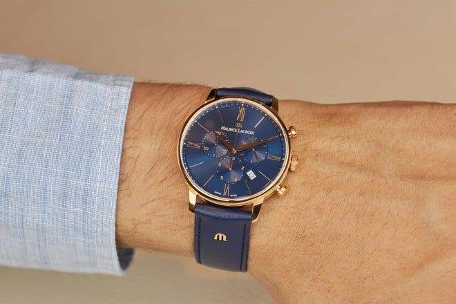 Herrenuhr Maurice Lacroix Eliros Chronograph mit blauem Zifferblatt und Rindsleder-Armband bei Brogle