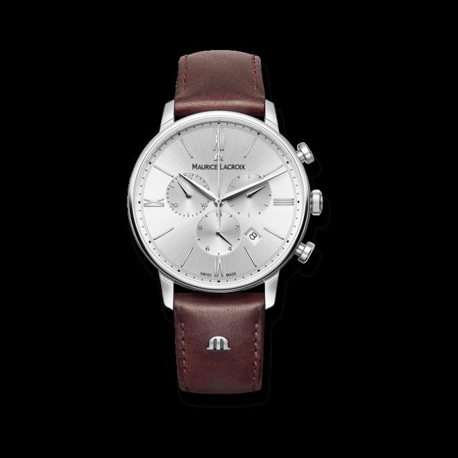 Herrenuhr Maurice Lacroix Eliros Chronograph mit silberfarbenem Zifferblatt und Kalbsleder-Armband