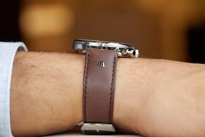 Herrenuhr Maurice Lacroix Eliros Chronograph mit weißem Zifferblatt und Kalbsleder-Armband bei Brogle