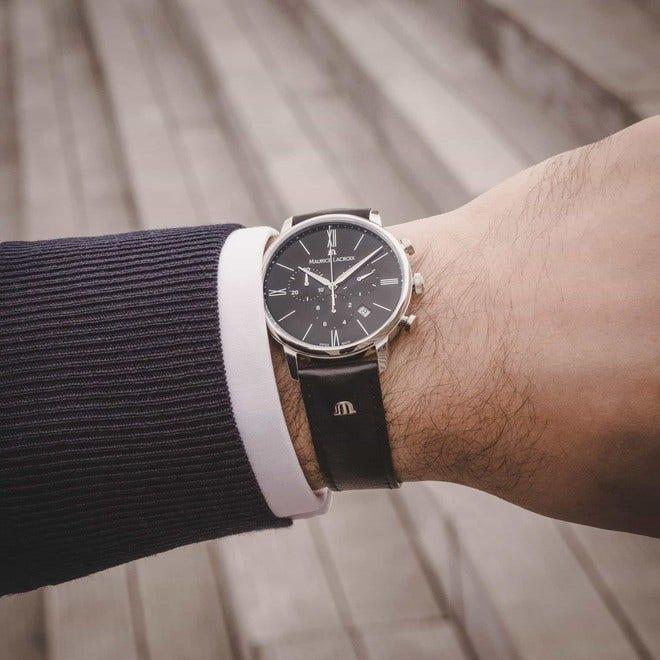 Herrenuhr Maurice Lacroix Eliros Chronograph mit schwarzem Zifferblatt und Kalbsleder-Armband bei Brogle