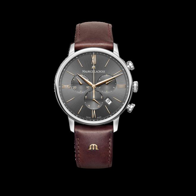 Herrenuhr Maurice Lacroix Eliros Chronograph mit grauem Zifferblatt und Kalbsleder-Armband bei Brogle