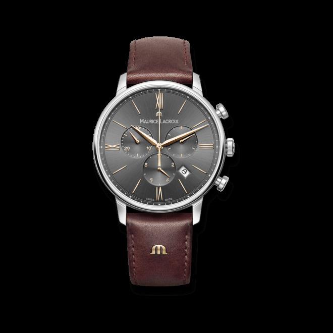 Herrenuhr Maurice Lacroix Eliros Chronograph mit grauem Zifferblatt und Kalbsleder-Armband