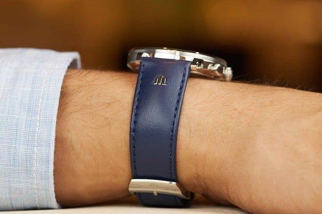 Herrenuhr Maurice Lacroix Eliros Chronograph mit blauem Zifferblatt und Kalbsleder-Armband bei Brogle