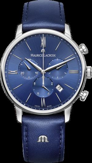 Herrenuhr Maurice Lacroix Eliros Chronograph mit blauem Zifferblatt und Kalbsleder-Armband