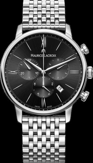 Herrenuhr Maurice Lacroix Eliros Chronograph mit schwarzem Zifferblatt und Edelstahlarmband