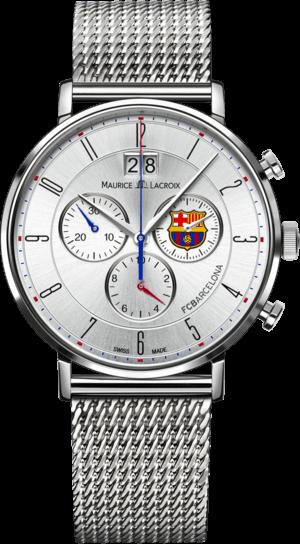 Herrenuhr Maurice Lacroix Eliros Chronograph FC Barcelona mit silberfarbenem Zifferblatt und Edelstahlarmband