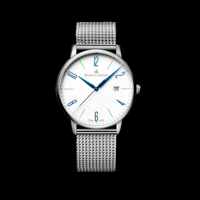 Armbanduhr Maurice Lacroix Eliros Date 40mm 25th Anniversary mit weißem Zifferblatt und Edelstahlarmband bei Brogle