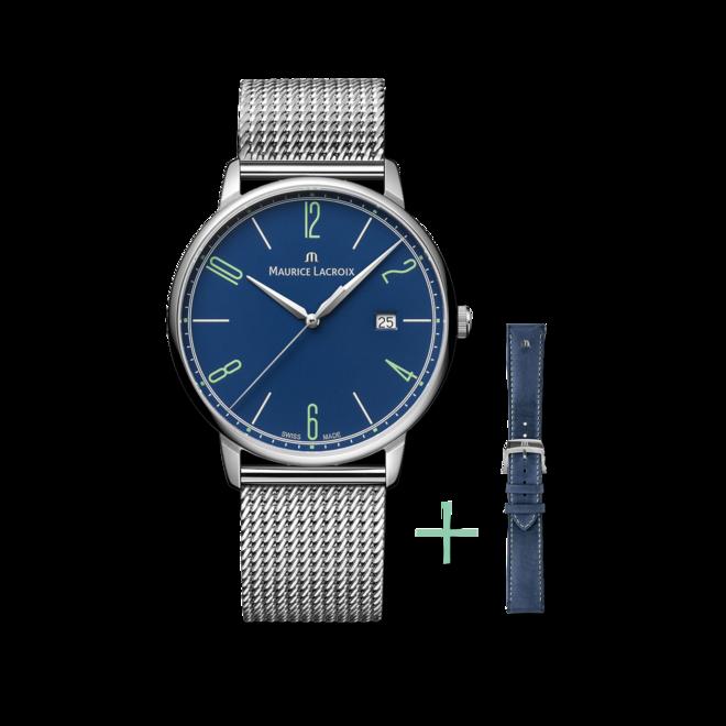 Armbanduhr Maurice Lacroix Eliros Date 40mm 25th Anniversary mit blauem Zifferblatt und Edelstahlarmband bei Brogle