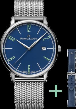 Armbanduhr Maurice Lacroix Eliros Date 40mm 25th Anniversary mit blauem Zifferblatt und Edelstahlarmband