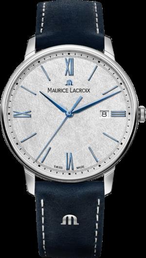 Herrenuhr Maurice Lacroix Eliros Date 40mm mit silberfarbenem Zifferblatt und Rindsleder-Armband
