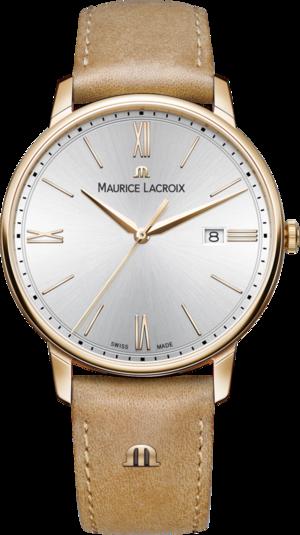 Herrenuhr Maurice Lacroix Eliros Date mit silberfarbenem Zifferblatt und Rindsleder-Armband