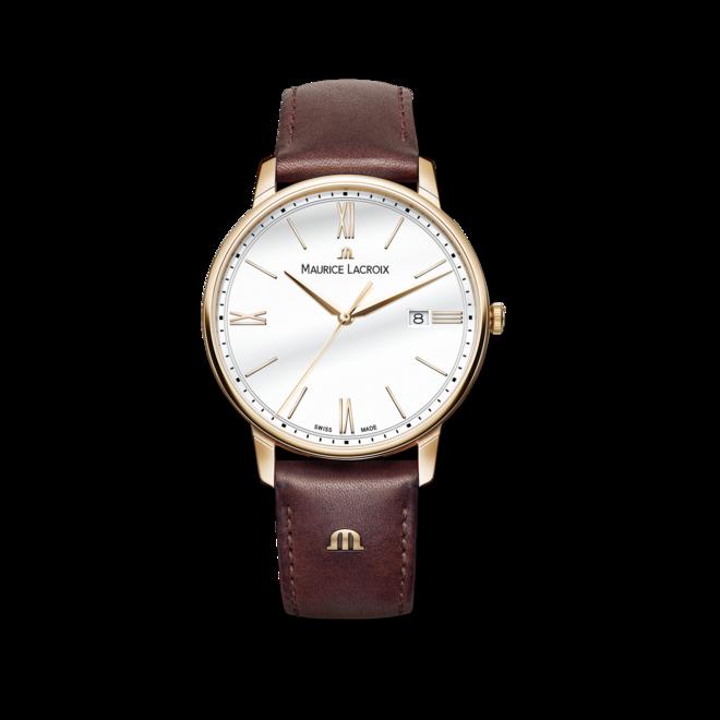 Herrenuhr Maurice Lacroix Eliros Date mit weißem Zifferblatt und Kalbsleder-Armband bei Brogle