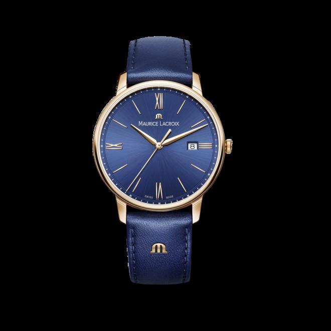 Herrenuhr Maurice Lacroix Eliros Date mit blauem Zifferblatt und Rindsleder-Armband bei Brogle