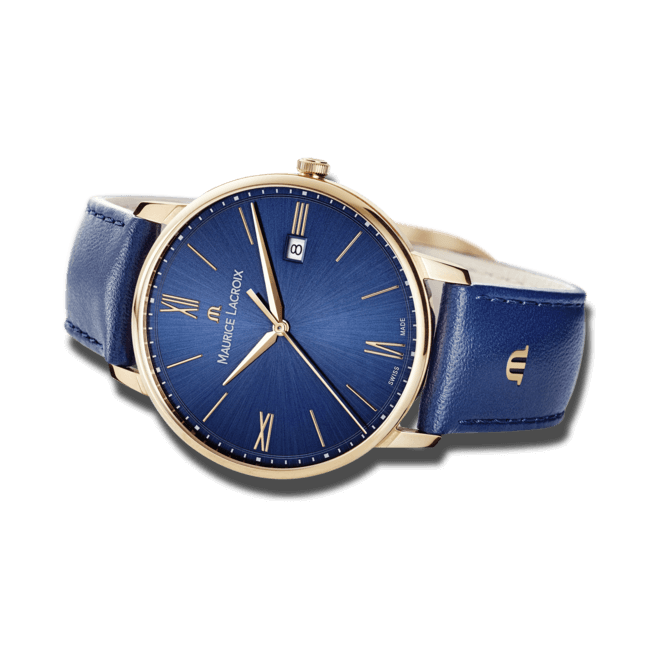 Herrenuhr Maurice Lacroix Eliros Date mit blauem Zifferblatt und Rindsleder-Armband