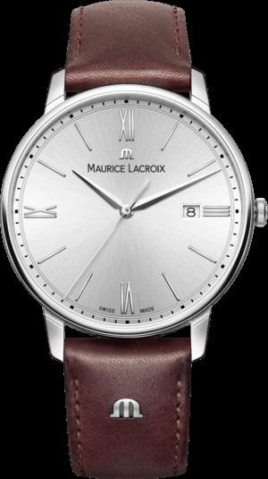 Herrenuhr Maurice Lacroix Eliros Date mit silberfarbenem Zifferblatt und Kalbsleder-Armband