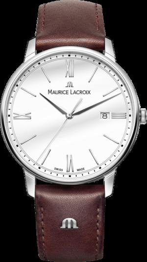 Herrenuhr Maurice Lacroix Eliros Date mit weißem Zifferblatt und Kalbsleder-Armband